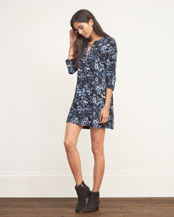 Womens Lace Up Shift Dress