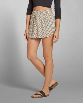 Womens Patterned Drapey Shorts