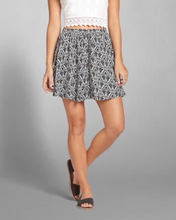Womens Zip Front Skater Skirt