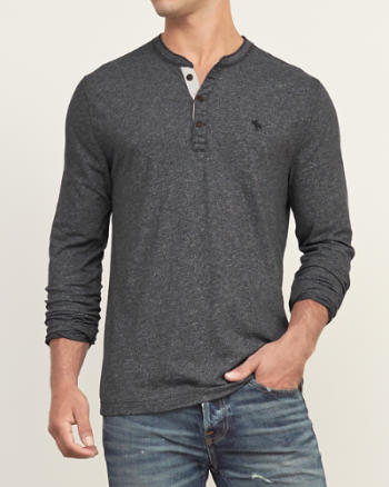 Mens Muscle Fit Henley