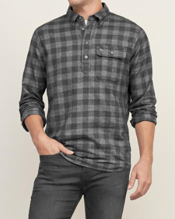 Mens Muscle Fit Popover Shirt