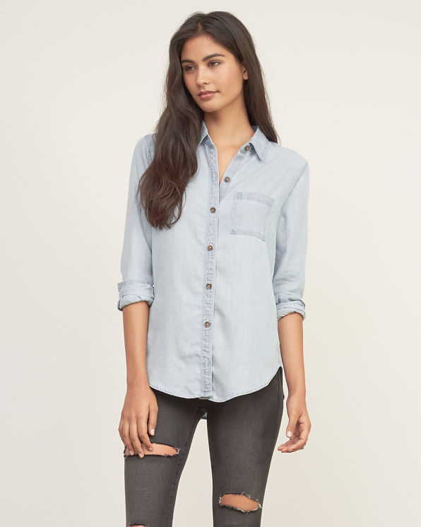 Womens light wash denim shirt womens new arrivals for Ladies light denim shirt