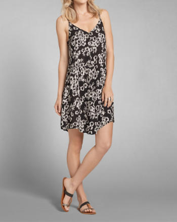 Womens Patterned Strappy Swing Dress
