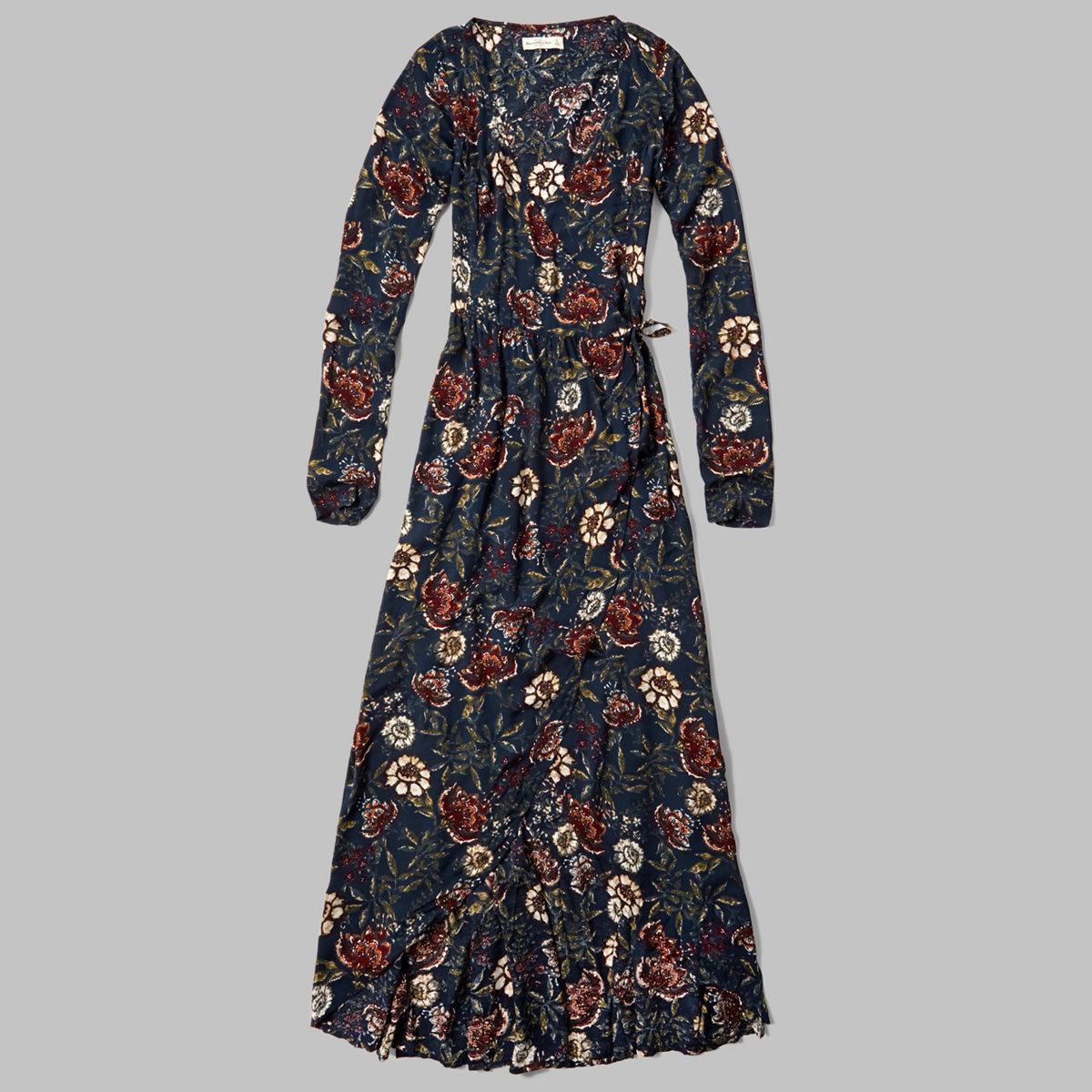 Floral Wrap Front Maxi Dress