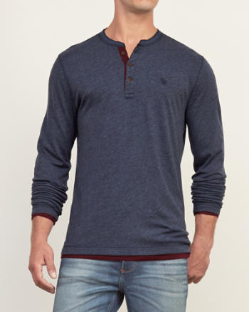 Mens Layered Henley