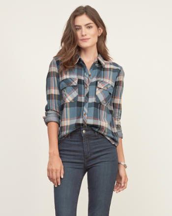 Womens Flap Pocket Plaid Shirt