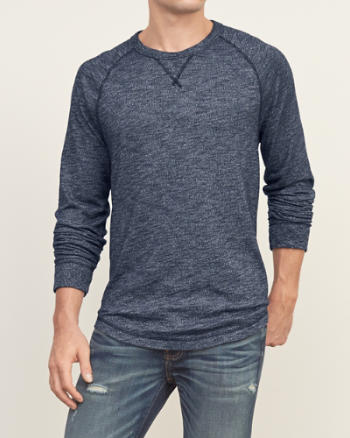 Mens Textured Knit Crew Tee