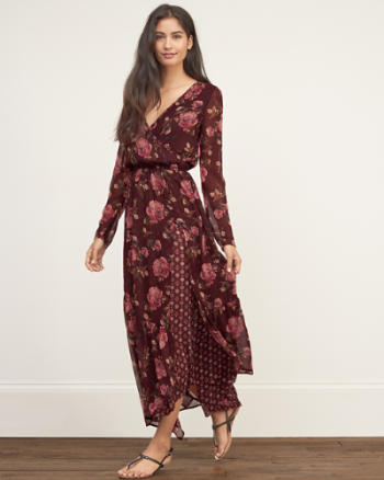 Womens Patterned Long Sleeve Maxi Dress