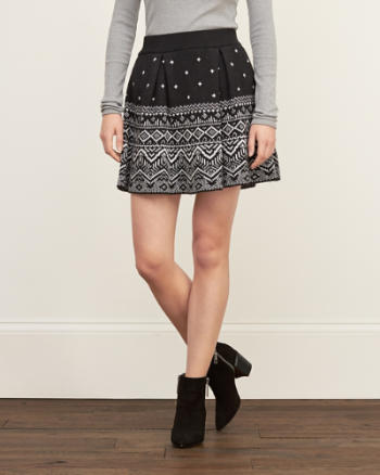 Womens Patterned Sweater Skirt
