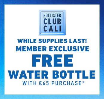 1b37b816229 Hollister Club Cali. While supplies last! Members get a free water bottle  with €