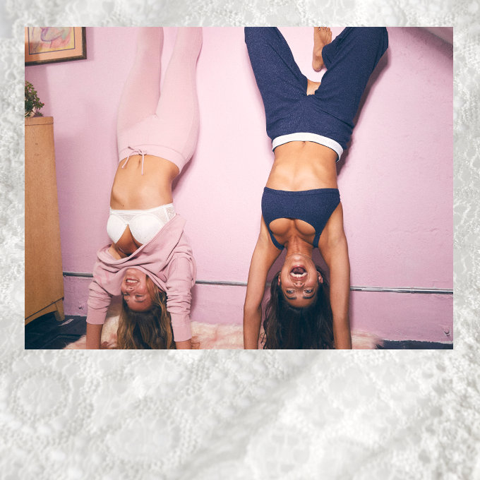 Hollister co carpe now clothing for guys and girls two girls doing handstands wearing gilly hicks bras keyboard keysfo Images