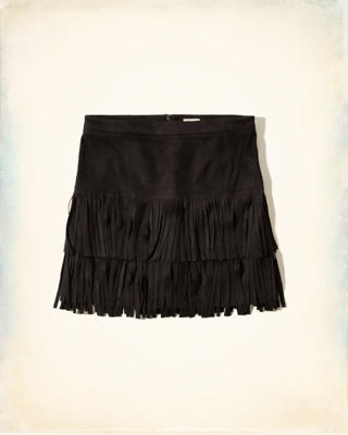Faux Suede Fringe Mini Skirt
