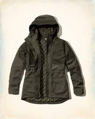 Mixed Fabric Parka