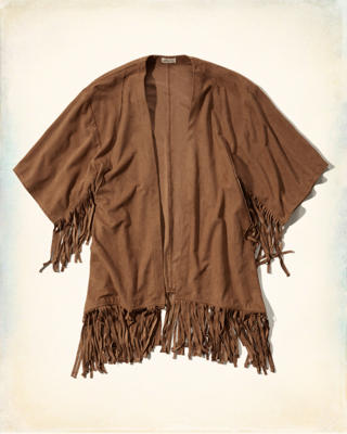 Faux Suede Fringe Non-Closure Top