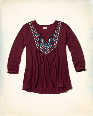 Shine Embroidered Peasant Top