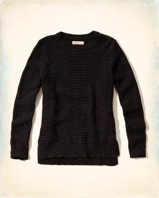 Textured-stitch Crew Sweater