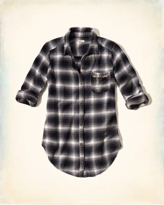 Longer Length Shine Flannel Shirt
