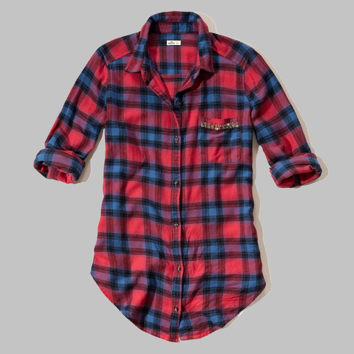 Longer Length Shine Flannel Shirt