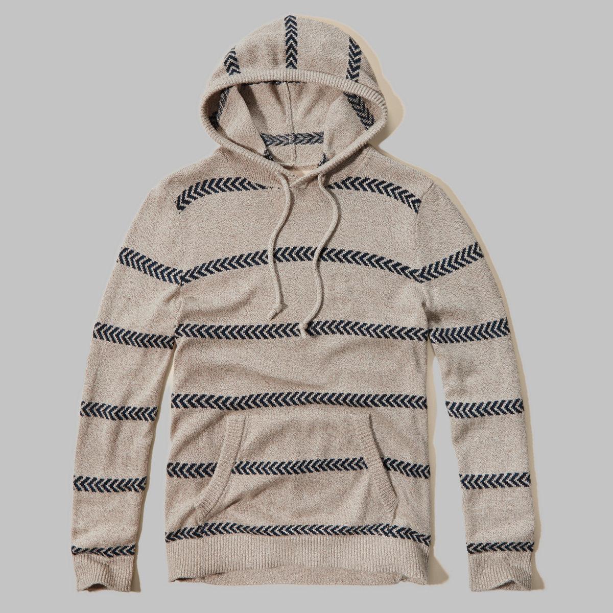 Stripe Rib-trim Sweater Hoodie