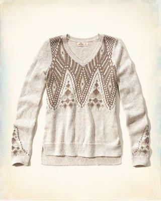 Patterned V-neck Sweater