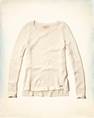 Open-stitch Crew Pullover Sweater