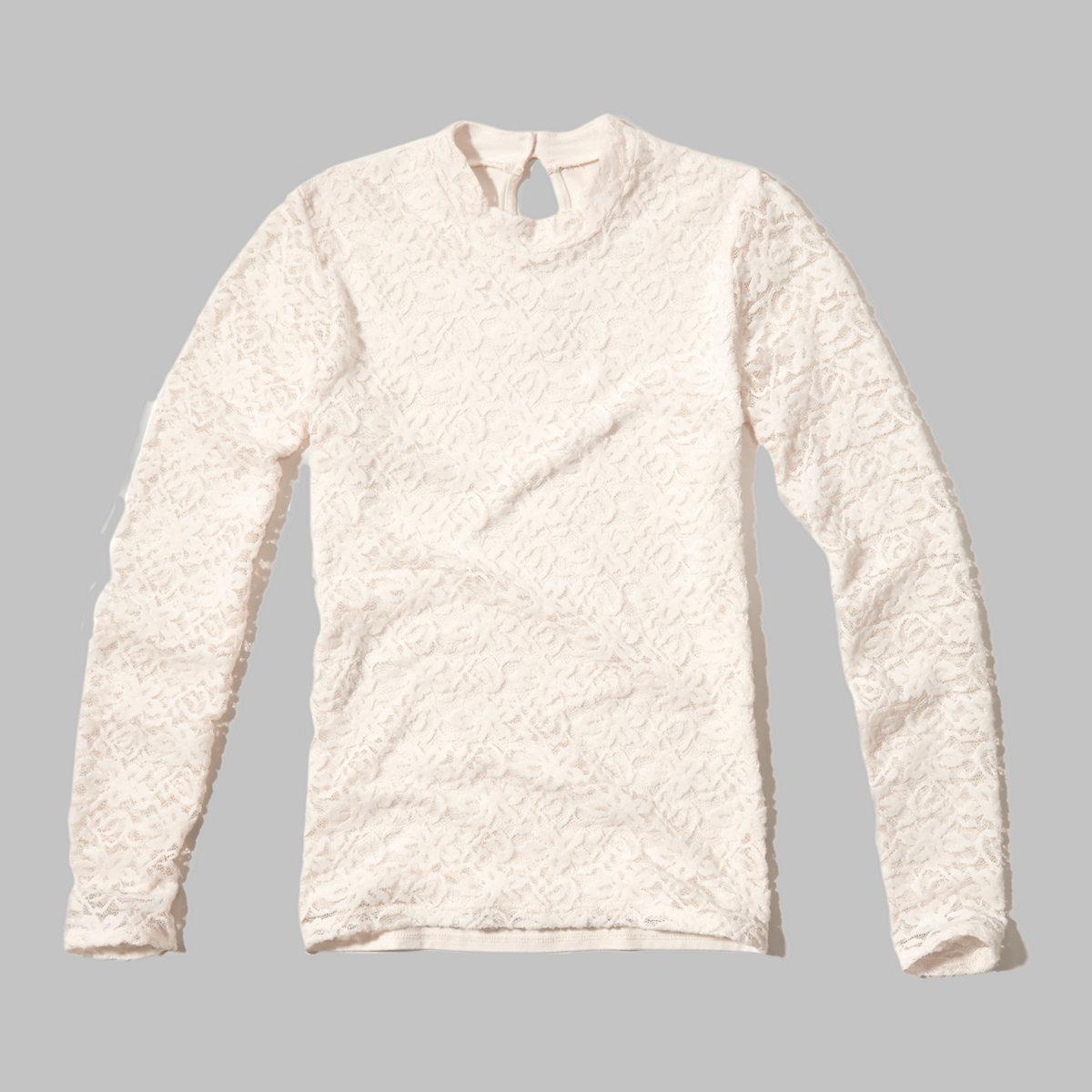 Mockneck Lace Top