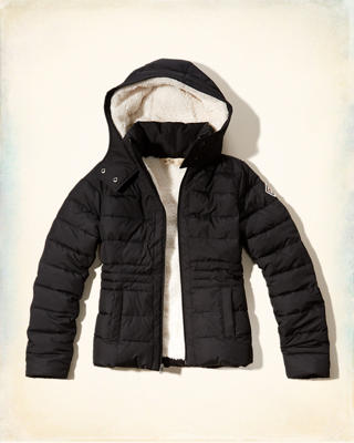 Sherpa-lined Down Puffer Jacket
