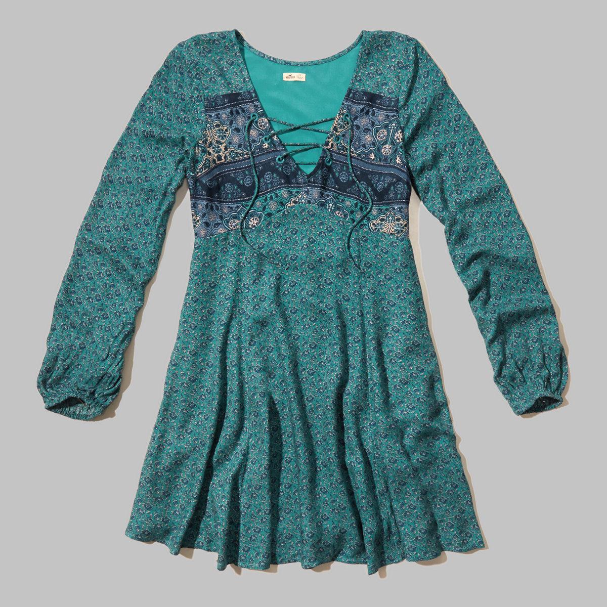 Crepe Lace-up Dress
