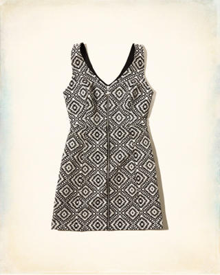 Jacquard Zip A-line Dress