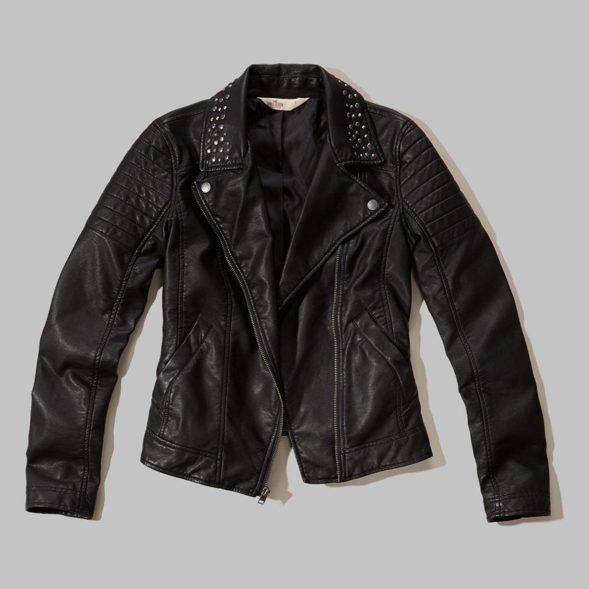 Studded-Collar Faux Leather Biker Jacket