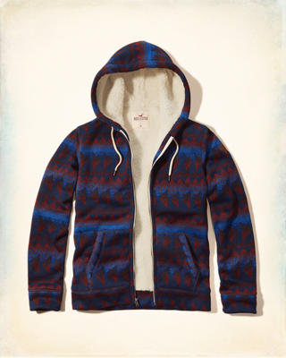 Patterned Sherpa Lined Hoodie