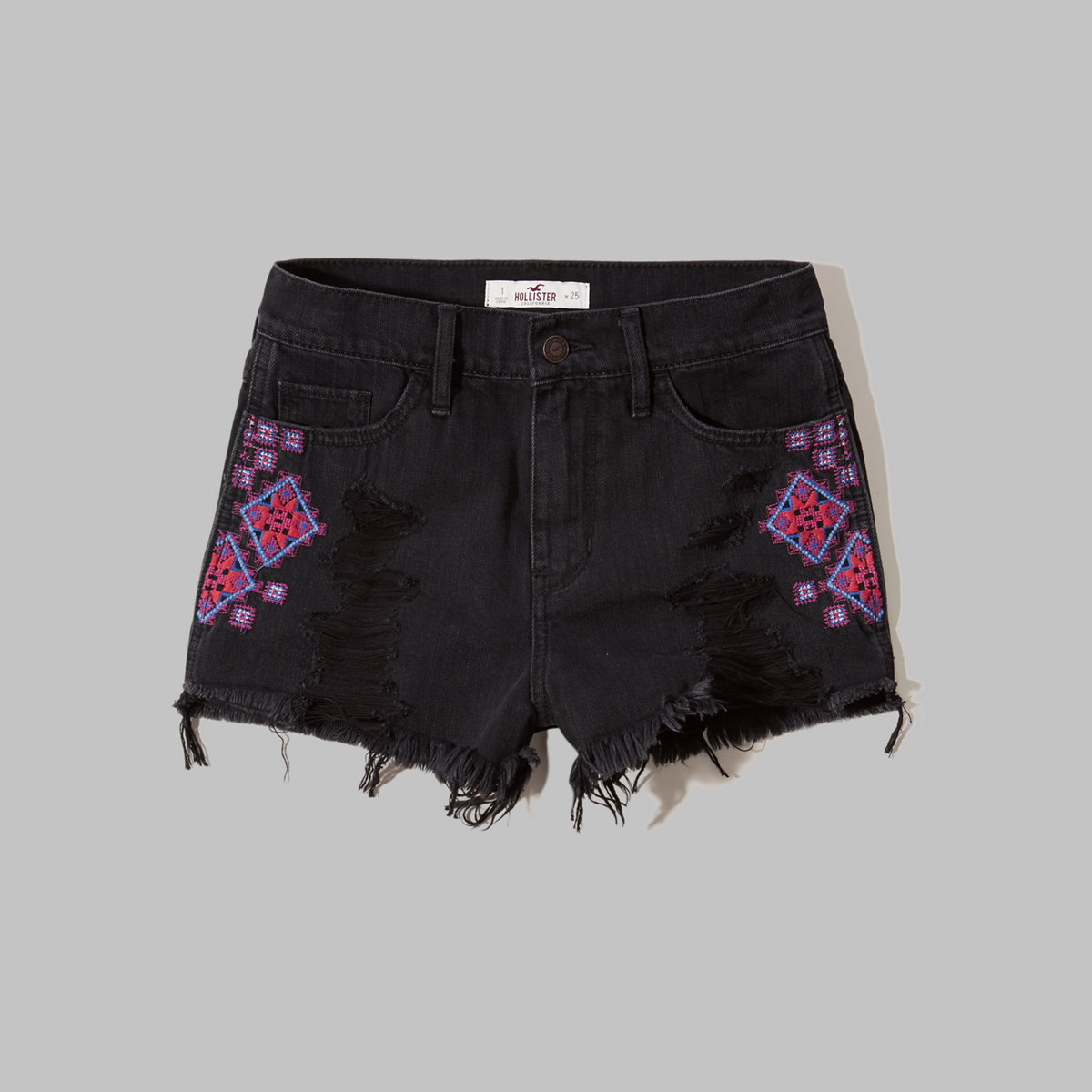 Embroidered High Rise Denim Short-Shorts