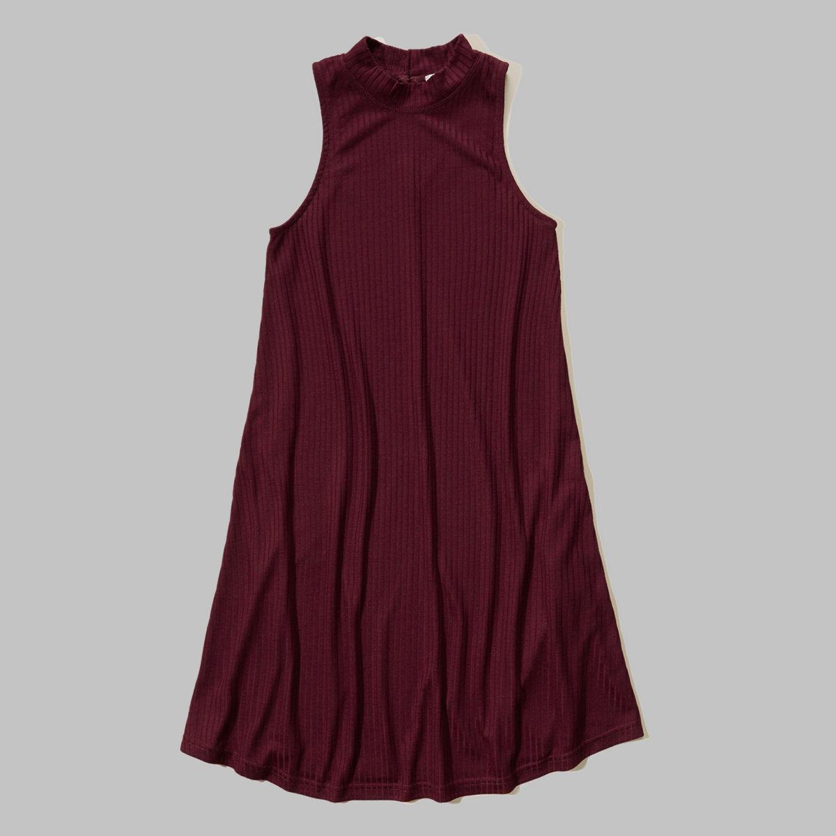 Ribbed Mock Neck Swing Dress