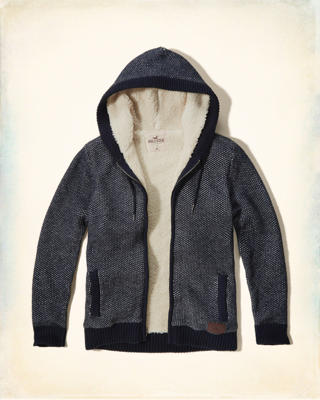Patterned Sherpa-lined Sweater Hoodie