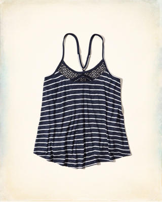 Lace Panel Stripe Cami