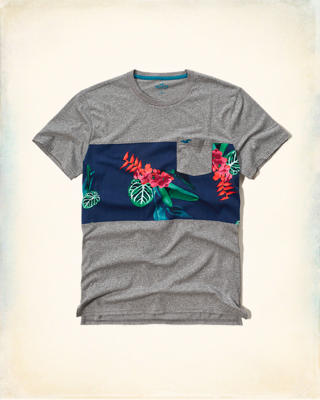 Beach Print Pocket T-Shirt