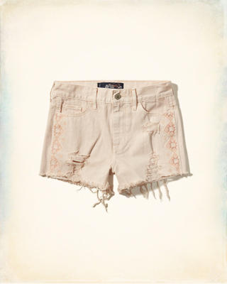 Embroidered High Rise Short-Shorts