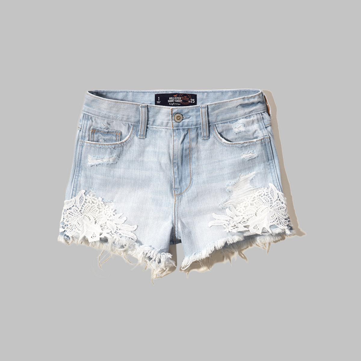 Lacy High Rise Denim Short-Shorts