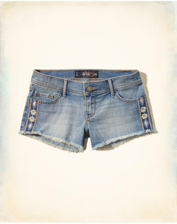 hol Embroidered Low Rise Denim Short-Shorts