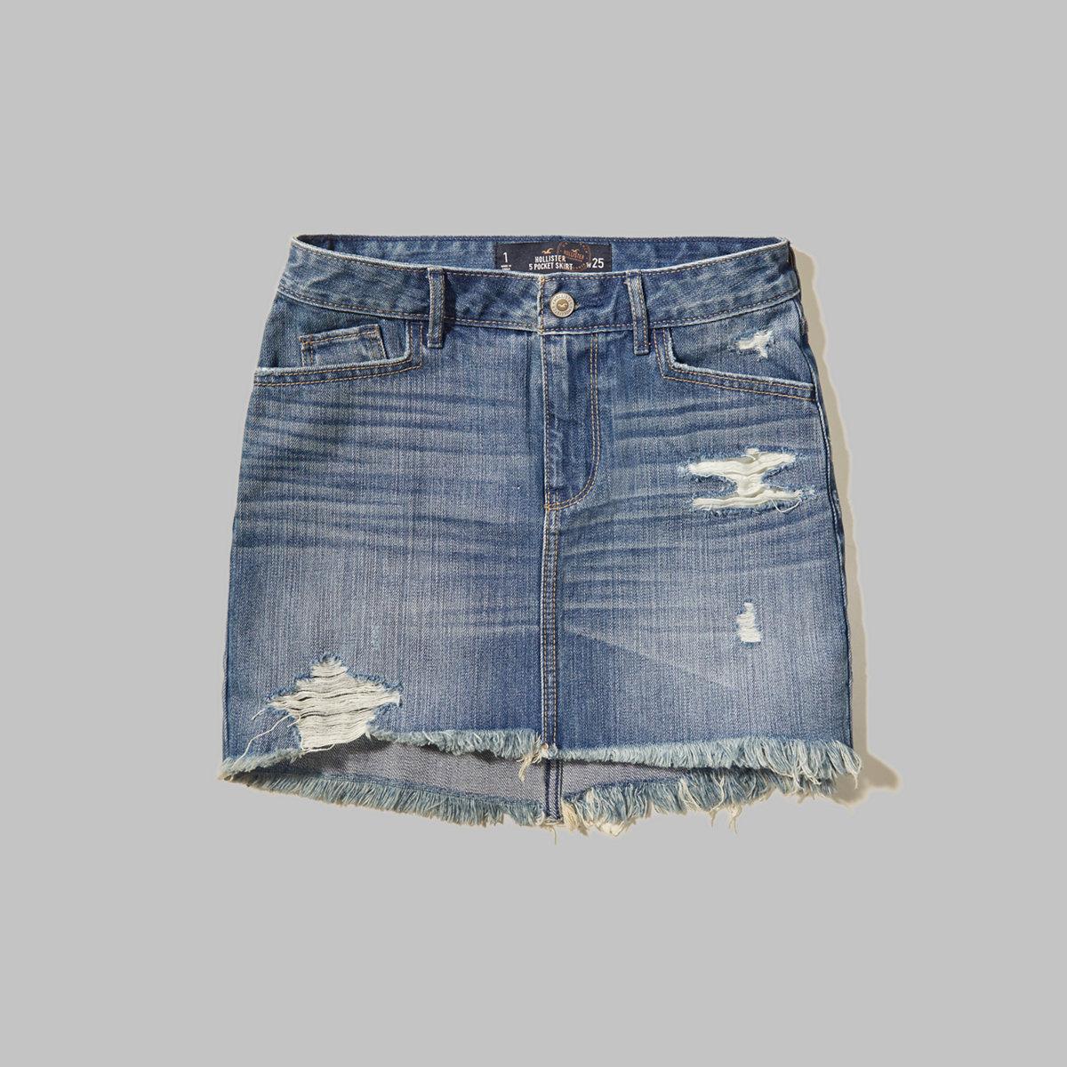 High Rise Denim Mini Skirt