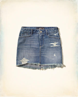 High-Rise Denim Mini Skirt