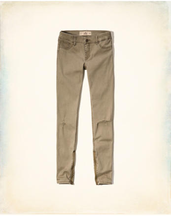 hol Hollister Ankle-Zip Twill Pants