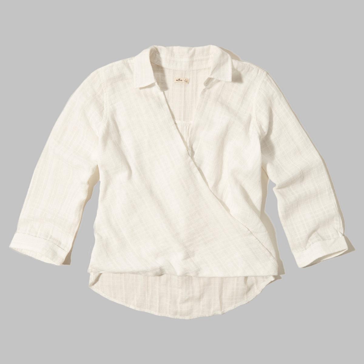 Textured Wrap Front Shirt