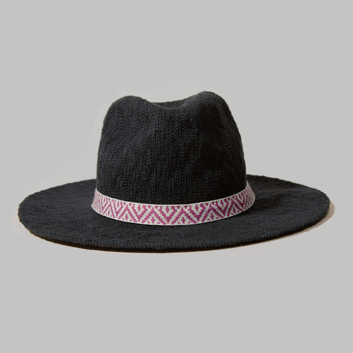 Pattern-Trim Panama Hat
