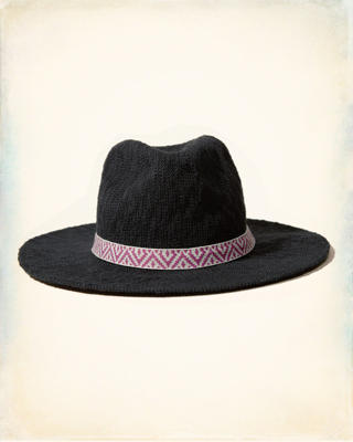 Pattern-Trim Panama Hat