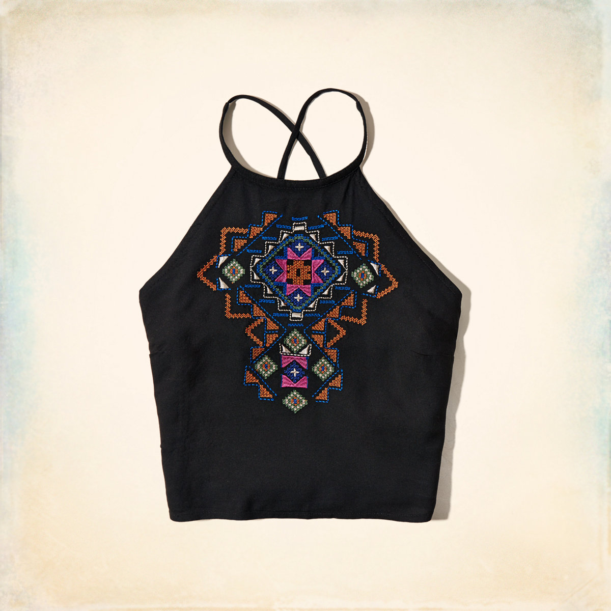 Embroidered High Neck Top