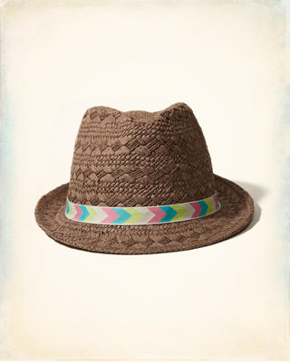 Chevron-Trim Fedora Hat