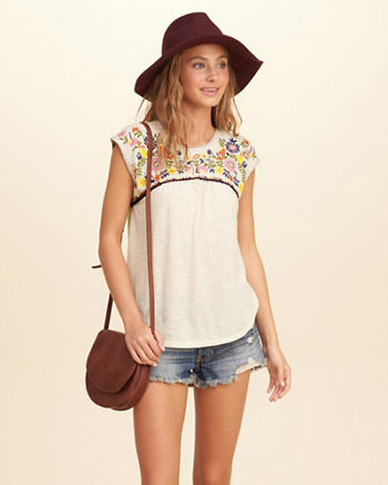 Embroidered Cap-Sleeve Blouse