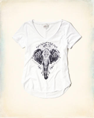 V-Neck Animal Graphic Tee