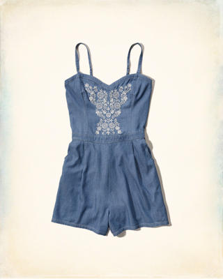 Embroidered Chambray Romper